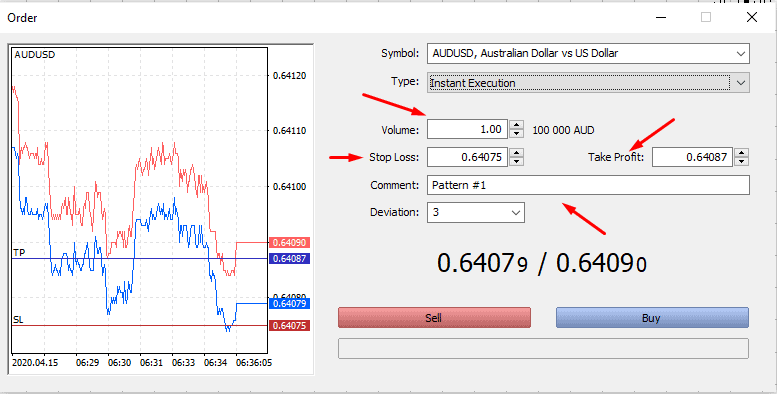 How to open a trade in metatrader 5