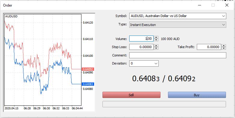 open a trade in metatrader 5